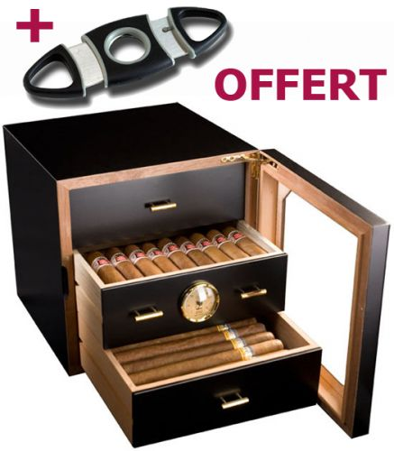 Cave à cigares compacte + 1 coupe-cigare double-lame offert