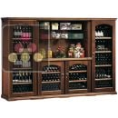 Combination of 4 single temperature wine cabinets for storage or service + spice rack ACI-CAL430