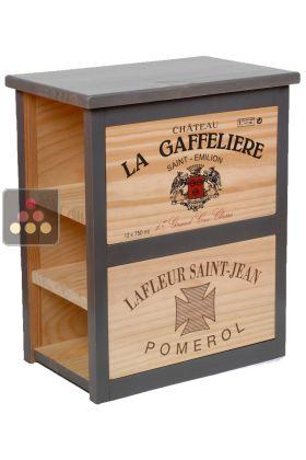 Meuble de rangement en bois 6 bouteilles cavid co pierre for Meuble cave a vin en bois