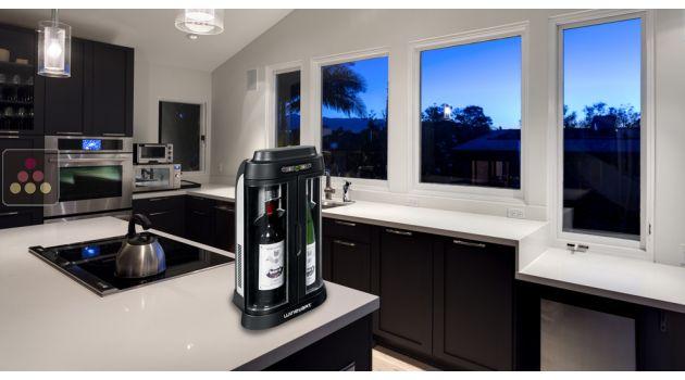 bar a vin  bouteilles noir silver avec conservation de ouvertes wine art