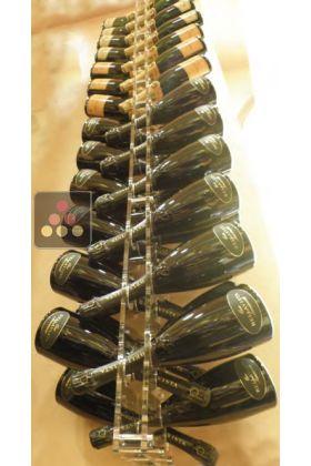 Porte bouteilles mural en plexiglas pour 54 bouteilles de champagne avec option led sobrio aci - Support bouteille vin mural ...