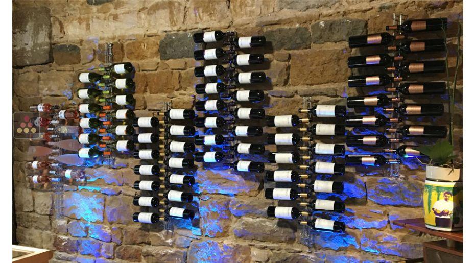 support mural de 16 bouteilles de 75cl en position horizontale visiorack aci vis601 ma cave vin. Black Bedroom Furniture Sets. Home Design Ideas