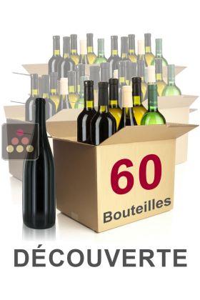 60 bouteilles de vin s lection d couverte vins blancs vins rouges et champagne s lection. Black Bedroom Furniture Sets. Home Design Ideas