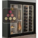 Freestanding combination of a multipurpose wine cabinet and a cheese/delicatessen cabinet ACI-PAR2100LFVP