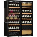 Combination of a single temperature wine cabinet and a 3 temperatures multipurpose wine cabinet ACI-TRT711NP