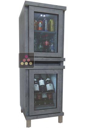 mini cave vin mini bar 100 silencieux en colonne avec habillage bois personnalisable. Black Bedroom Furniture Sets. Home Design Ideas