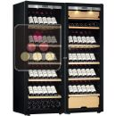 Combination of a single temperature wine cabinet and a 3 temperatures multipurpose wine cabinet - Full Glass door ACI-TRT711FP