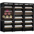 Combiné de 3 caves à vin mono-température de vieillissement ou de service - Porte Full Glass - Présentation inclinée ACI-TRT810FP1