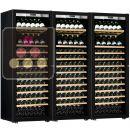 Combiné de 3 caves à vin mono-température de vieillissement ou de service - Porte Full Glass - Équipement Présentation/Coulissant ACI-TRT810FP